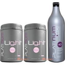 02 Pó Descolorante Platinum Light+ 01 Água Oxigenada Felithi