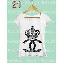 Camiseta T-shirt Feminina Coroa Chanel Luxo Marca