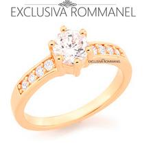 Rommanel Anel Aliança Folhead Ouro Solitario Zirconia 511652