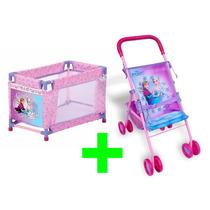 Carrinho De Boneca Frozen P + Bercinho Bebê Passeio Criança