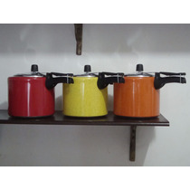 Kit 3 Panela Pressão Coloridas 4,5 L Alumínio/ Ferr Fundido