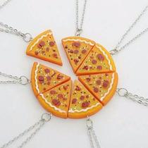 Kit 7 Correntes Colar Pizza Importado Cordão Melhores Amigos