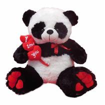 Urso Panda De Pelucia Gigante 3 Corações- 50cm
