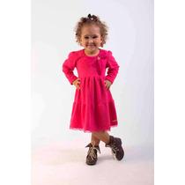 Vestido Infantil Criança Em Jacquard E Renda - Pink - Lindo