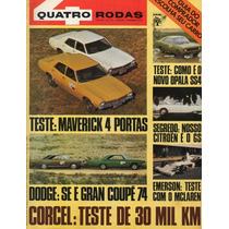 Quatro Rodas Nº161 Dezembro 1973 Maverick Opala Ss4 Dodge Se