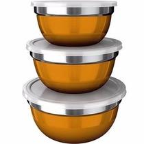 Conjunto De 3 Potes German Bowl Inox Euro Home Amarelo + Nf
