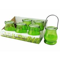 Display Com 6 Velas Em Lamparinas - Aroma De Capim Limão