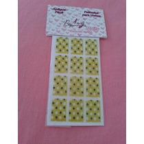Adesivos De Unhas Estampa De Fundo Amarelo Com Bolinhas