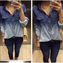 Camisa Blusa Jeans Degrade Feminina Manga Longa - Promoção