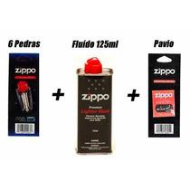 Kit Zippo Original: Fluído 125ml + 6 Pedras + 1 Pavio