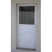 Porta De Alumínio Branco De Giro 50% Vidro 800x1820 Esq Fum