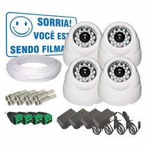 Kit Cftv 4 Câmeras Infra De Segurança 24 Leds + Frete Grátis