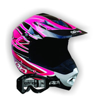 Capacete Th1 Top Helmet Rosa 58 + Óculos 788