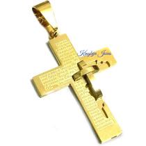 Crucifixo Masculino Banhado Ouro 18k Trabalhado Alto Relevo!