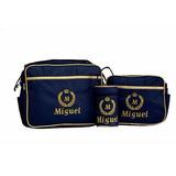 Kit Bolsa Maternidade Piquet Personalizada Azul 3 Peças