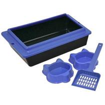 Caixa De Areia Para Gatos Higienica Kit Com Pá E 2 Comedouro
