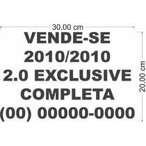 Adesivo Vende-se Carro Recorte 30 Cm X 20 Cm Cores Diversas