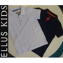 Camiseta Polo Ellus Kids Manga Curta - Branca