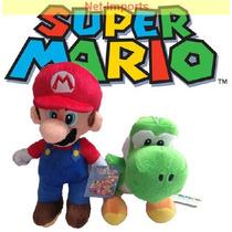 Kit 2 Unidades Pelúcias Super Mario E Yoshi Ou Luigi E Yoshi