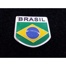 Emblema Em Metal Automotivo Bandeira Do Brasil Alta Quality!