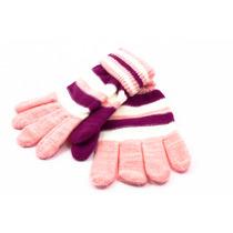 Luva Inverno Frio Feminina Adulto Lã Listrada
