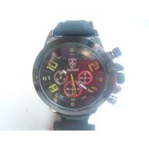 Relógio Ferrari Unissex Todo Preto Com Detalhes Verde
