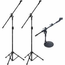Kit Pedestal Microfone De Bumbo + 2 Pedestal P/ Over Bateria