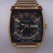 Relógio Masculino Quadrado Dourado Luxo Atlantis A3114