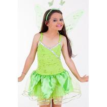 Fantasia Vestido Fada Tinker Bell Sininho Infantil Com Asa