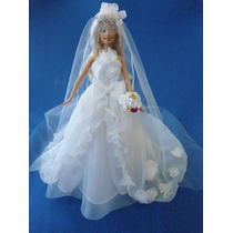 Lindo Vestido De Noiva Para Boneca Barbie- Encomendas A Part