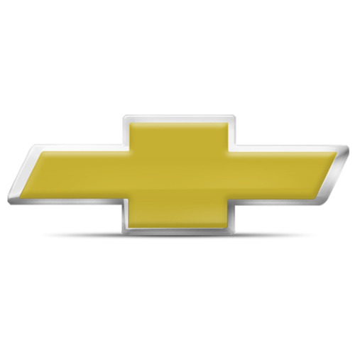Emblema Resinado Chevrolet Dourado Com Borda Cromada 9x3,5cm