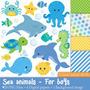Kit Scrapbook Digital Animais Do Mar Imagens Clipart Cod 7