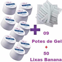 Kit Unhas Gel Acrigel Fibra 09 Gel Uv + 50 Lixa Banana
