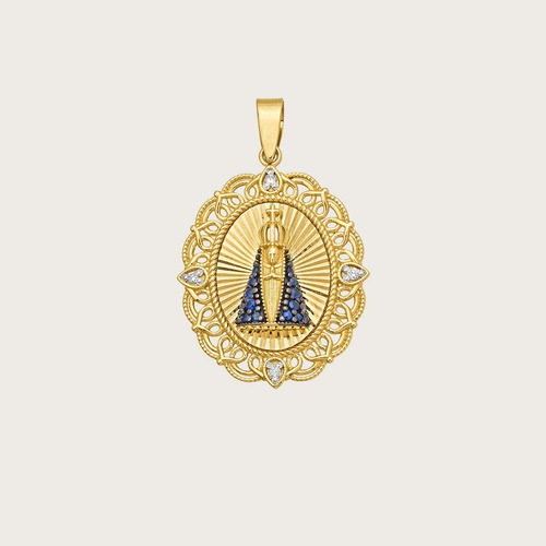 Pingente N. sra. Aparecida Em Ouro 18k ( 750 ) Com Pedras Natur