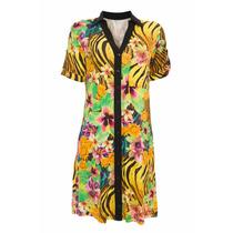 Vestido Malha Estampado Manga Curta Gola E Vista De Chifon