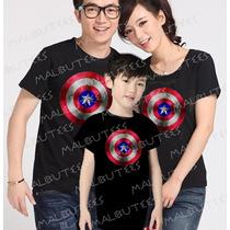 Camiseta Capitão América Tal Pai Tal Mãe Tal Filho Kit Com 3