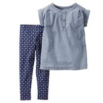 Conjunto Camisa Jeans E Calça Legging Azul - Carters
