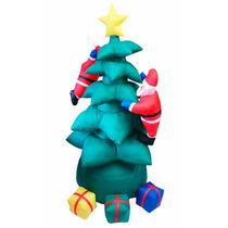 Inflável Árvore De Natal Com Papai Noel E Presentes 1,90 Mts