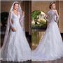 Vestido Noiva Casamento Debutante Manga Longa Lindo