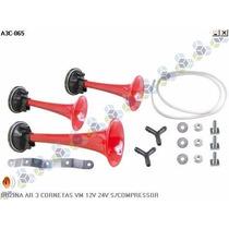 Buzina Ar 3 Cornetas Vermelha 12v 24v S/ Compressor