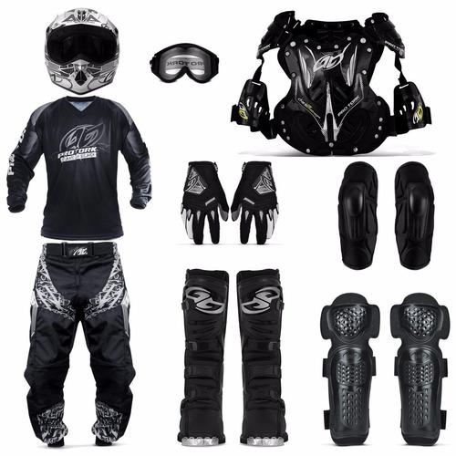 Kit Motocross Completo Pro Tork Capacete 60 Camiseta Gg