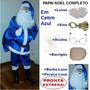 Roupa Fantasia Papai Noel Cetim Azul Com Todos Acessórios U8