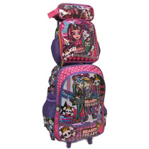 Kit Mochila Escolar Rodinhas Monster High + Lancheira-estojo