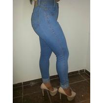 Calça Jeans Cos Alto Feminina Azul Marcas Cintura Alta