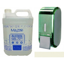 Kit Álcool Gel 70% Asséptico Mazzo 5l + Dispenser Verde