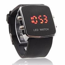 Relogio Luxo Led Watch Preto - Prata