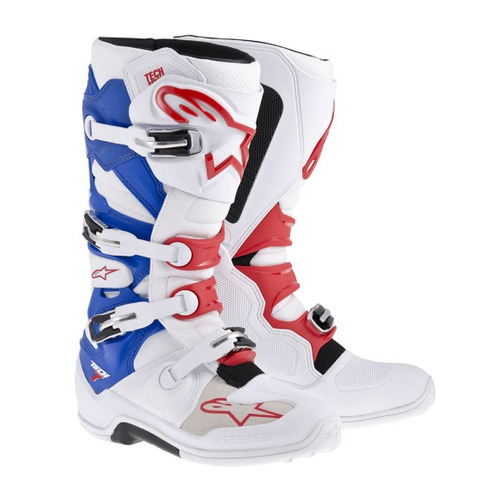 Bota Alpinestars Tech7 Enduro Branco / verm / azul 10 ( 41 / 42 ) Rs1