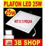 Painel Plafon Luminaria Led Quadrado Embutir Slim 25w - 5 Pc