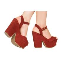 Sandália Plataforma Vermelho Taquilla
