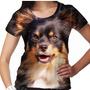 Camiseta Cachorro Chihuahua Pelo Longo Preto Marrom Feminina